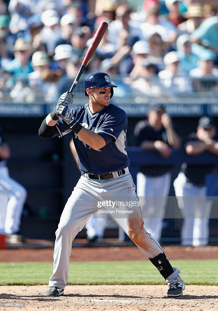 <a gi-track='captionPersonalityLinkClicked' href=/galleries/search?phrase=Will+Middlebrooks&family=editorial&specificpeople=7934204 ng-click='$event.stopPropagation()'>Will Middlebrooks</a> #11 of the San Diego Padres bats against the Seattle Mariners during the spring training game at Peoria Stadium on March 5, 2015 in Peoria, Arizona.