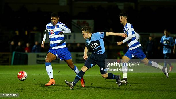 Will Miller of Spurs scores their first goal during the Barclays U21 Premier League match between Reading U21 and Tottenham Hotspur U21 at Adams Park...