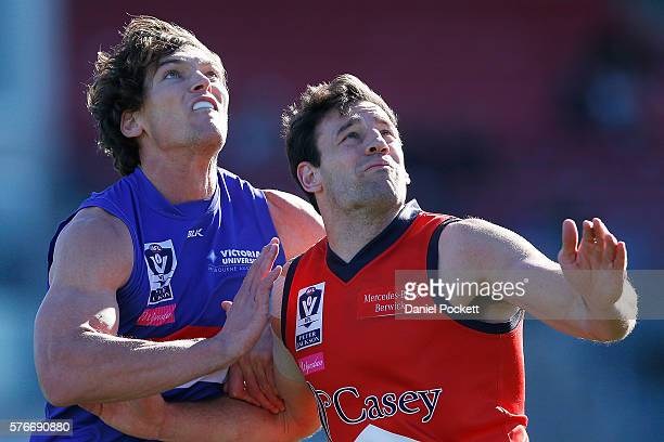 Will Minson of the Bulldogs and Liam Hulett of the Scorpions compete for the ball during the round 15 VFL match between the Footscray Bulldogs and...