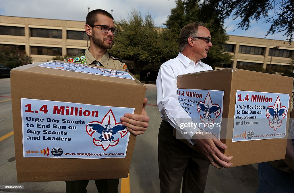 Will Oliver, Eagle Scout , and Eric Andresen, former Scout leader, deliver boxes containing 1.4 million signatures urging the Boy Scouts of America to reverse the organization's ban on LGBT Scouts on February 4, 2013 in Irving, Texas. The BSA national council announced they were considering to leave the decision of inclusion of gays to the local unit level. U.S. President Barack Obama urged the organization to end a ban on gays.