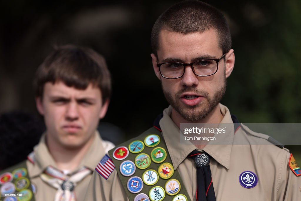 Will Oliver, Eagle Scout , and James Oliver talk to the media after delivering boxes containing 1.4 million signatures urging the Boy Scouts of America to reverse the organization's ban on LGBT Scouts on February 4, 2013 in Irving, Texas. The BSA national council announced they were considering to leave the decision of inclusion of gays to the local unit level. U.S. President Barack Obama urged the organization to end a ban on gays.
