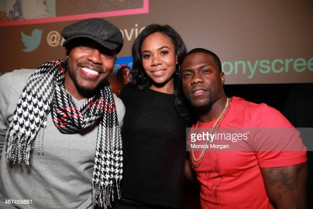 Will Packer Regina Hall and Kevin Hart attends the 'About Last Night' Screening And QA at Emagine Royal Oak on February 6 2014 in Royal Oak Michigan