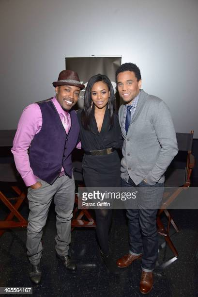 Will Packer Regina Hall and Michael Ealy attends the 'About Last Night' screening at Regal Cinemas Atlantic Station Stadium 16 on January 27 2014 in...