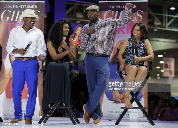 Will Packer Tiffany Haddish Malcolm Lee and Regina Hall from the movie Girls Trip speak during the Essence Music Festival at the Ernest N Morial...