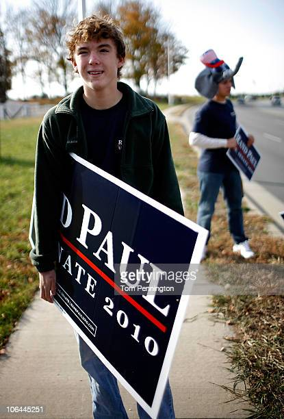 Will Paul son of Rand Paul Republican candidate for Kentucky's US Senate seat stands outside a polling station on November 2 2010 in Bowling Green...