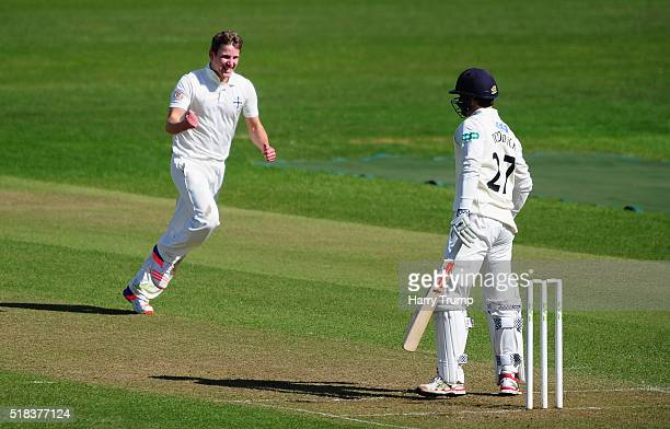 Will Phillips of Durham MCCU celebrates after dismissing Gareth Roderick of Gloucestershire during the MCC Univesity Match between Gloucestershire...