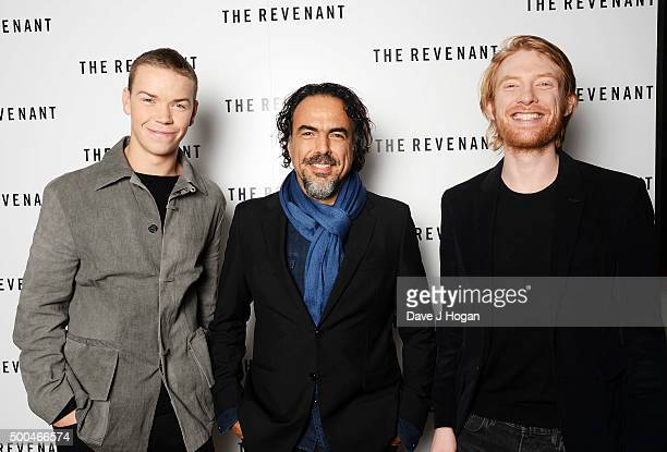 Will Poulter Driector Alejandro Gonzalez Inarritu and Domhnall Gleeson attend a BAFTA QA of 'The Revenant' at Vue Leicester Square on December 6 2015...