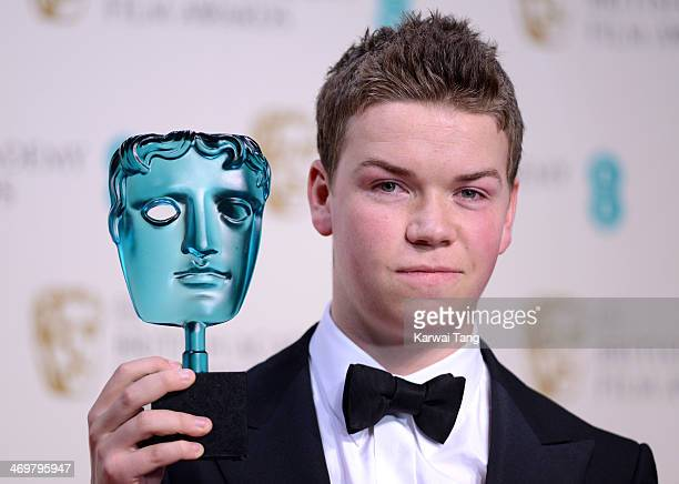 Will Poulter poses with his EE Rising Star Award in the winners room at the EE British Academy Film Awards 2014 at The Royal Opera House on February...