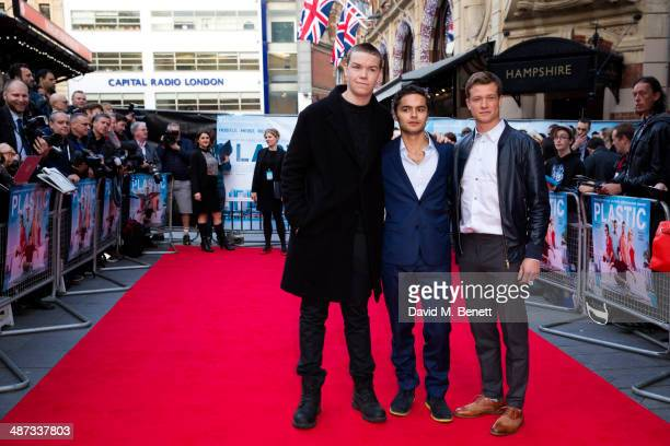 Will Poulter Sebastian de Souza and Ed Speleers attend the UK Premiere of 'Plastic' at the Odeon West End on April 29 2014 in London England