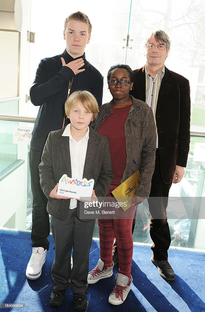 Will Poulter, winners of the Best Animation award Roman Bloch and Lakeisha Lynch-Seven and Nik Powell attend the First Light Awards at Odeon Leicester Square on March 19, 2013 in London, England.