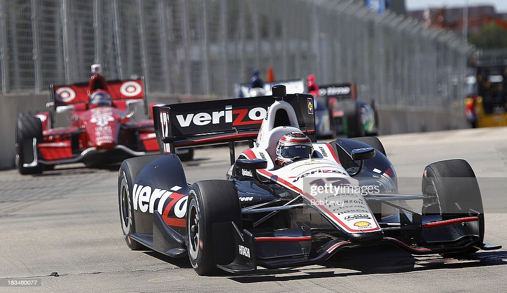 Will Power, driver of the #12 Team Penske car leads Scott Dixon of New Zealand, driver of the #9 Target Chip Ganassi Racing Honda Dallara, coming out of turn numbe ten during the Shell And Pennzoil Grand Prix Of Houston Race #2 at Reliant Park on October 6, 2013 in Houston, Texas.