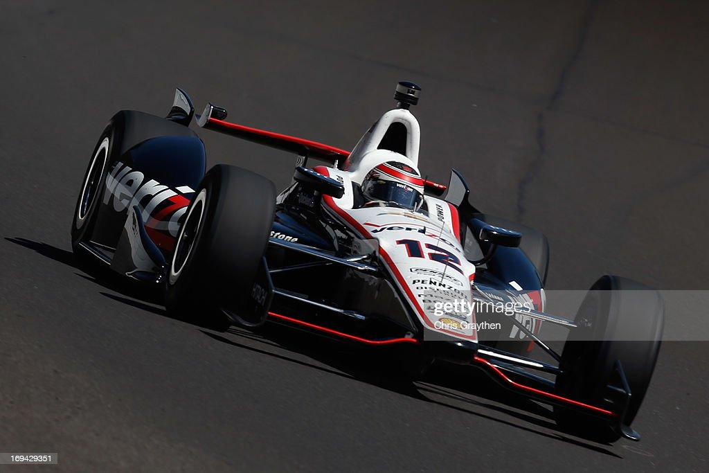 Will Power, driver of the #12 Verizon Penske Racing Chevrolet Dallara drives during final practice on Carb Day for the 97th Indianapolis 500 mile race at Indianapolis Motor Speedway on May 24, 2013 in Indianapolis, Indiana.