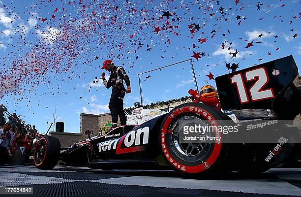 Will Power driver of the Verizon Team Penske Cherolet Dallara celebrates his win during the IZOD IndyCar Series GoPro Grand Prix of Sonoma on August...