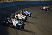 Will Power of Australia driver of the Team Penske Dallara Chevrolet leads a pack of cars during the Verizon IndyCar Series MAVTV 500 IndyCar World...