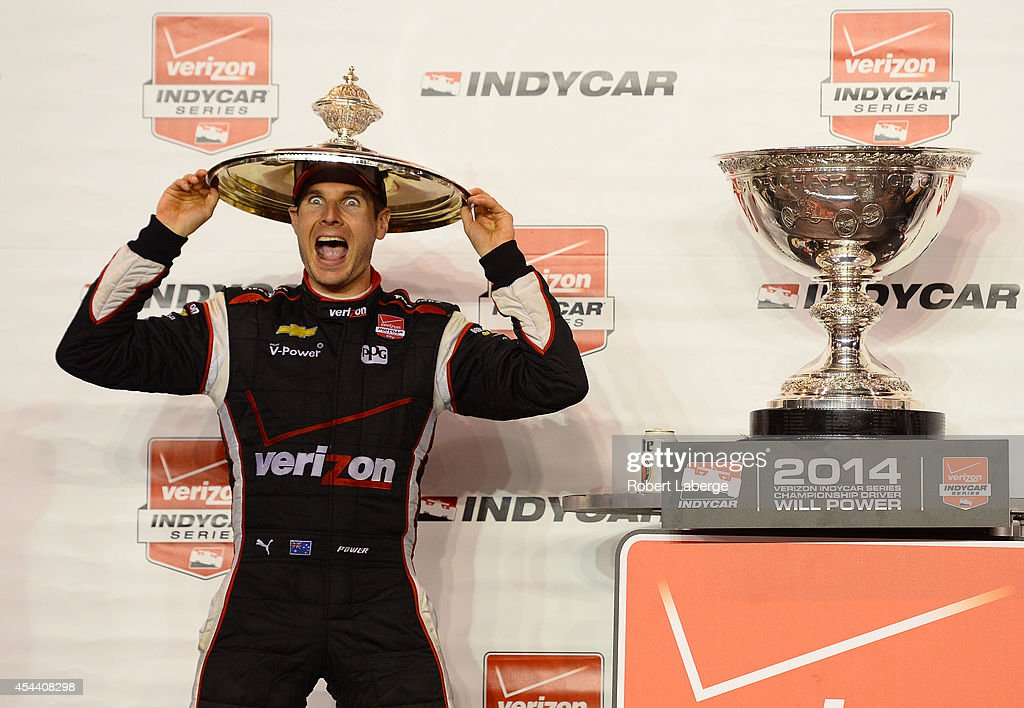 Will Power of Australia driver of the Team Penske Dallara Chevrolet celebrates after winning the IndyCar Championship during the Verizon IndyCar...