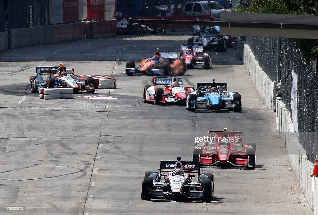 Will Power, of Australia, driver of the #12 Team Penski Chevrolet Dallara leads the pack through the chicane during the Grand Prix of Baltimore on September 1, 2013 in Baltimore, Maryland.