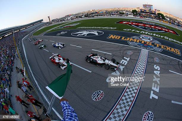 Will Power of Australia driver of the Verizon Team Penske Chevrolet leads the field to the start of the Verizon IndyCar Series Firestone 600 at Texas...
