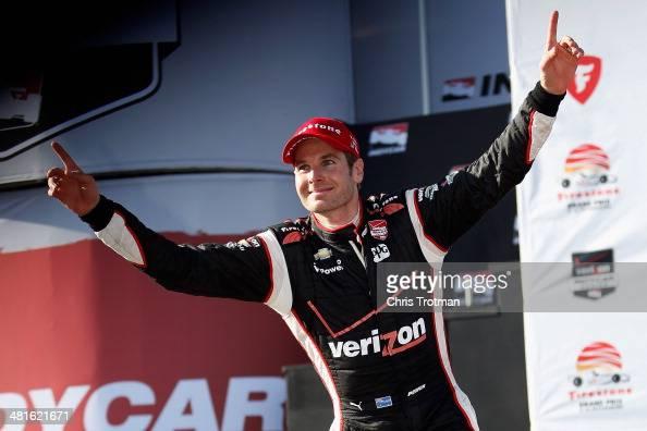 Will Power of Australia driver of the Verizon Team Penske Chevrolet celebrates his victory in the Verizon IndyCar Series Firestone Grand Prix of St...