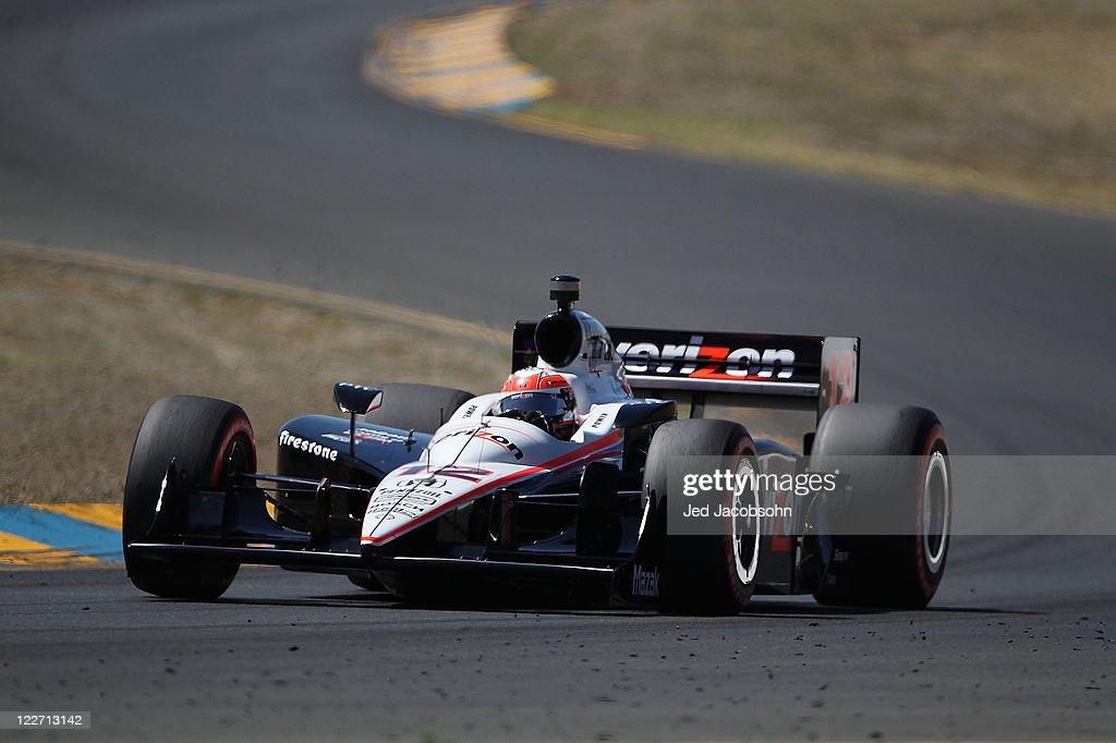 Will Power of Australia, driver of the #12 Verizon Team Penske Dallara Honda, races during the IZOD IndyCar Series Indy Grand Prix of Sonama race at Infineon Raceway on August 28, 2011 in Sonoma, California.