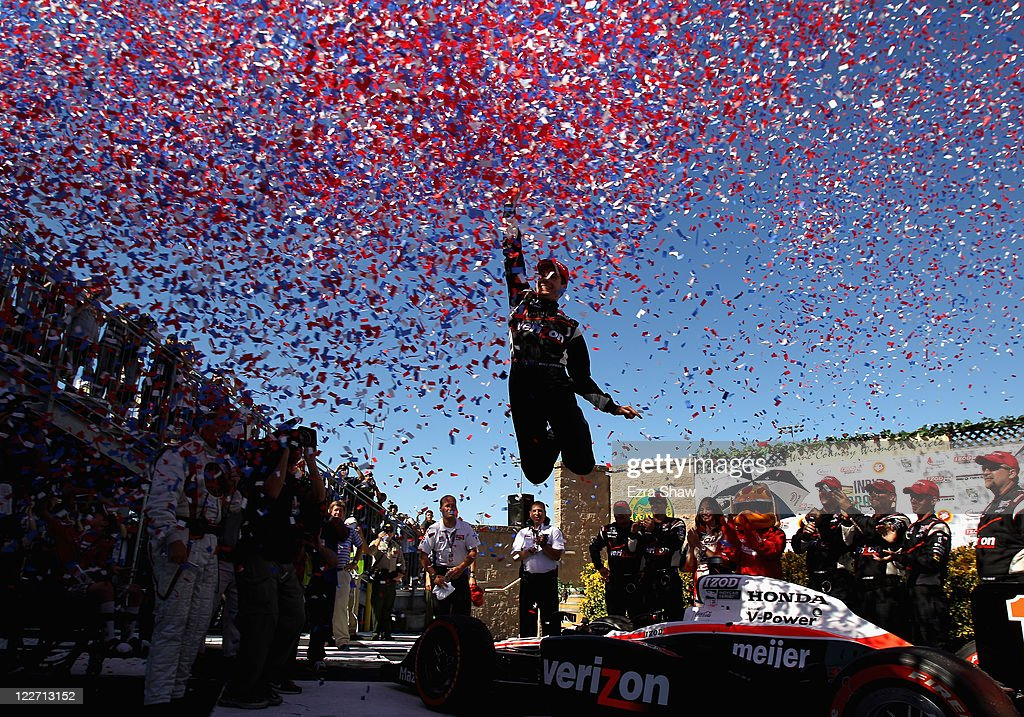 Will Power of Australia, driver of the #12 Verizon Team Penske Dallara Honda, celebrates in the winners circle after he won the IZOD IndyCar Series Indy Grand Prix of Sonama race at Infineon Raceway on August 28, 2011 in Sonoma, California.