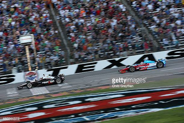 Will Power of Australia driver of the Verizon Team Penske Dallara Chevrolet leads Josef Newgarden driver of the Strike/Sarah Fisher Hartman Racing...