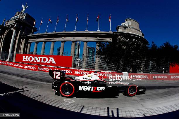 Will Power of Australia drives the Hitachi Team Penske Chevrolet during the IZOD INDYCAR Series Honda Indy Toronto Race on July 14 2013 in Toronto...