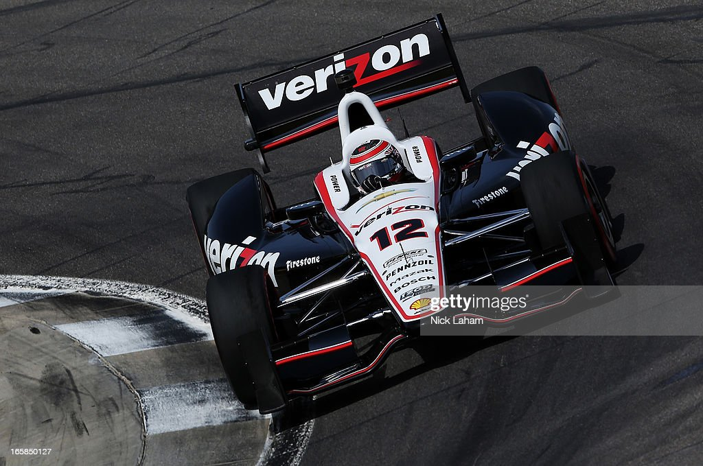 Will Power of Australia, drives the #12 Verizon Team Penske Chevrolet during qualifying for the Honda Indy Grand Prix of Alabama at Barber Motorsports Park on April 6, 2013 in Birmingham, Alabama.