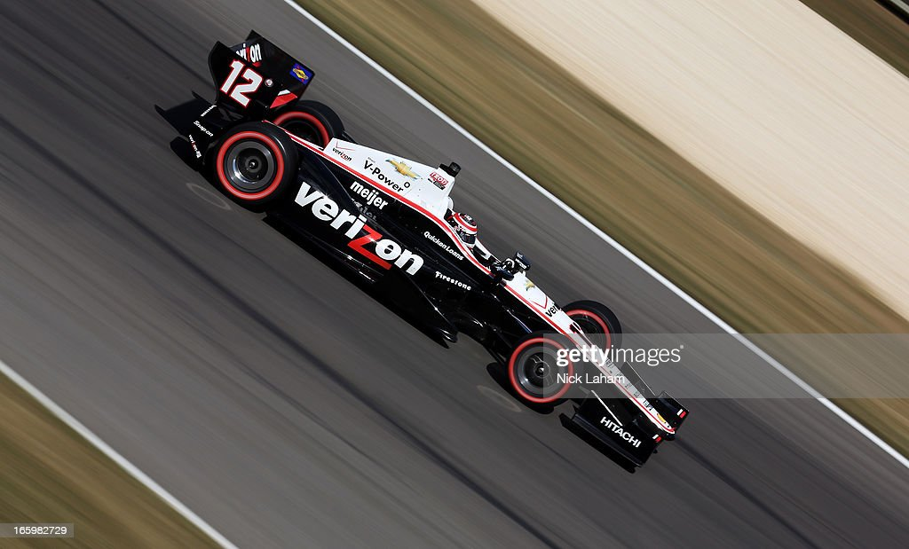Will Power of Australia, drives the #12 Verizon Team Penske Chevrolet during the Honda Indy Grand Prix of Alabama at Barber Motorsports Park on April 7, 2013 in Birmingham, Alabama.