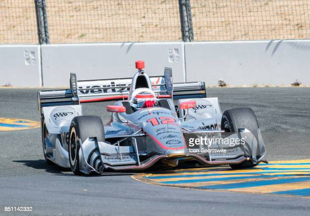 Will Power of Brazil Team Penske skids around turn 9 during the IndyCar Series Warm Up at the Verizon Indycar Series GoPro Grand Prix of Sonoma held...