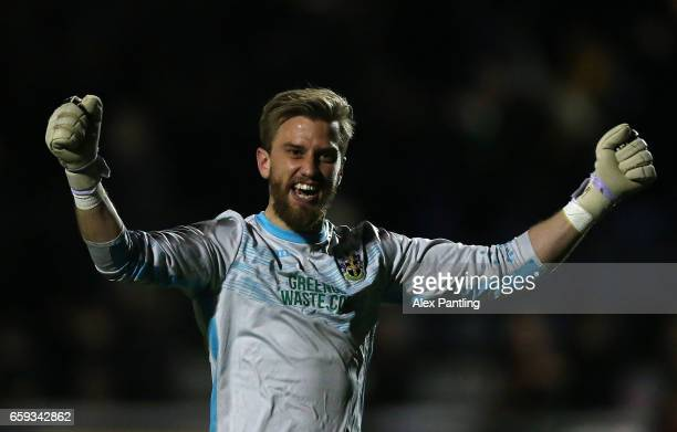 Will Puddy of Sutton United celebrates after his side score their first goal during the Vanarama National League match between Sutton United and...