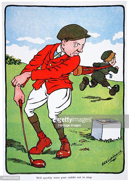 Will quickly warn your caddie not to stop Golfing postcard c1920s