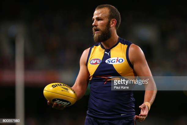Will Schofield of the Eagles looks on during the round 14 AFL match between the West Coast Eagles and the Melbourne Demons at Domain Stadium on June...