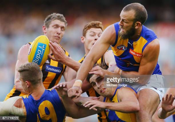 Will Schofield of the Eagles punches the ball during the round five AFL match between the Hawthorn Hawks and the West Coast Eagles at Melbourne...