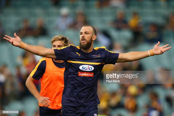 Will Schofield of the Eagles warms up before the round four AFL match between the West Coast Eagles and the Sydney Swans at Domain Stadium on April...
