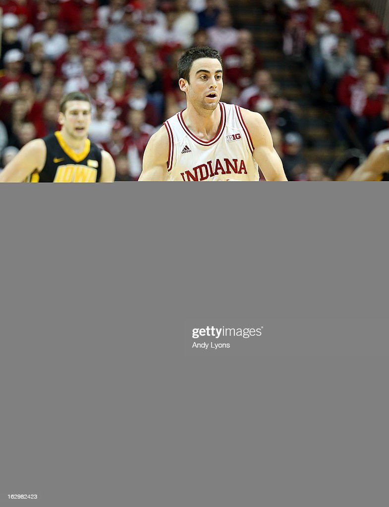 Will Sheehey #0 of the Indiana Hoosiers dribbles the ball during the game against the Iowa Hawkeyes at Assembly Hall on March 2, 2013 in Bloomington, Indiana.