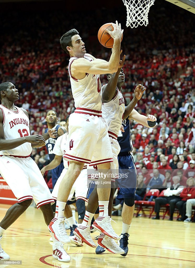 Will Sheehey #0 of the Indiana Hoosiers grabs a rebound during the game against the Penn State Nittany Lions at Assembly Hall on January 23, 2013 in Bloomington, Indiana.