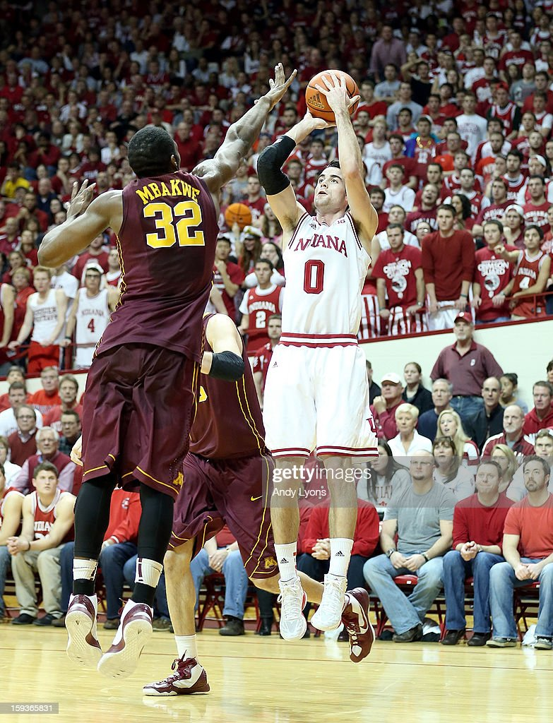 Will Sheehey #0 of the Indiana Hoosiers shoots the ball during the Big 10 game against the Minnesota Golden Gophers at Assembly Hall on January 12, 2013 in Bloomington, Indiana.