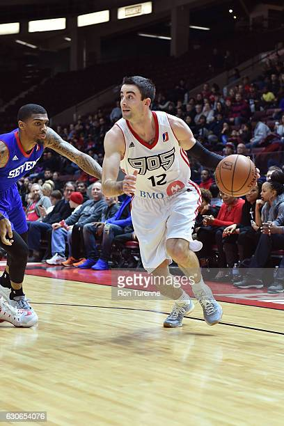 Will Sheehey of the Raptors 905 drives to the basket against the Delaware 87ers during the NBA DLeague game on December 27 at the Hershey Centre in...