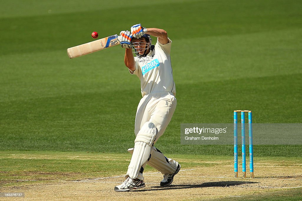 Will Sheridan of the Bushrangers bats during day three of the Sheffield Shield match between the Victorian Bushrangers and the New South Wales Blues at Melbourne Cricket Ground on March 9, 2013 in Melbourne, Australia.