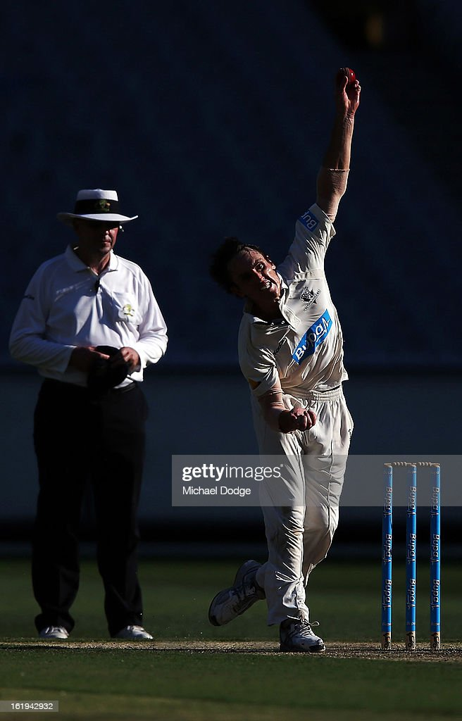 Will Sheridan of the Bushrangers bowls during day one of the Sheffield Shield match between the Victorian Bushrangers and the Queensland Bulls at Melbourne Cricket Ground on February 18, 2013 in Melbourne, Australia.