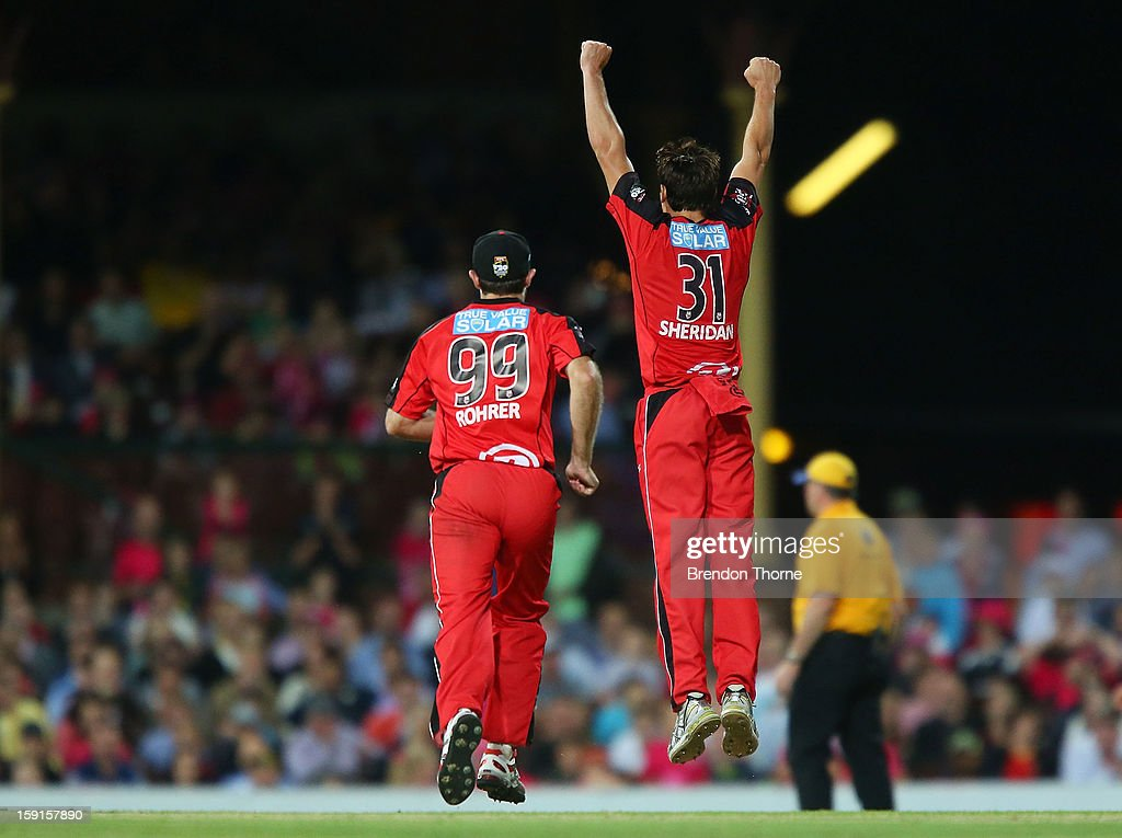 Will Sheridan of the Renegades celebrates after claiming the wicket of Michael Lumb of the Sixers during the Big Bash League match between the Sydney Sixers and the Melbourne Renegades at SCG on January 9, 2013 in Sydney, Australia.