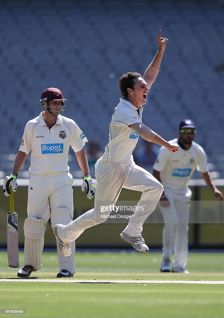 Will Sheridan of the Victorian Bushrangers celebrates his dismissal of Dominic Michael of the Queensland Bulls during day one of the Sheffield Shield match between the Victorian Bushrangers and the Queensland Bulls at Melbourne Cricket Ground on February 18, 2013 in Melbourne, Australia.