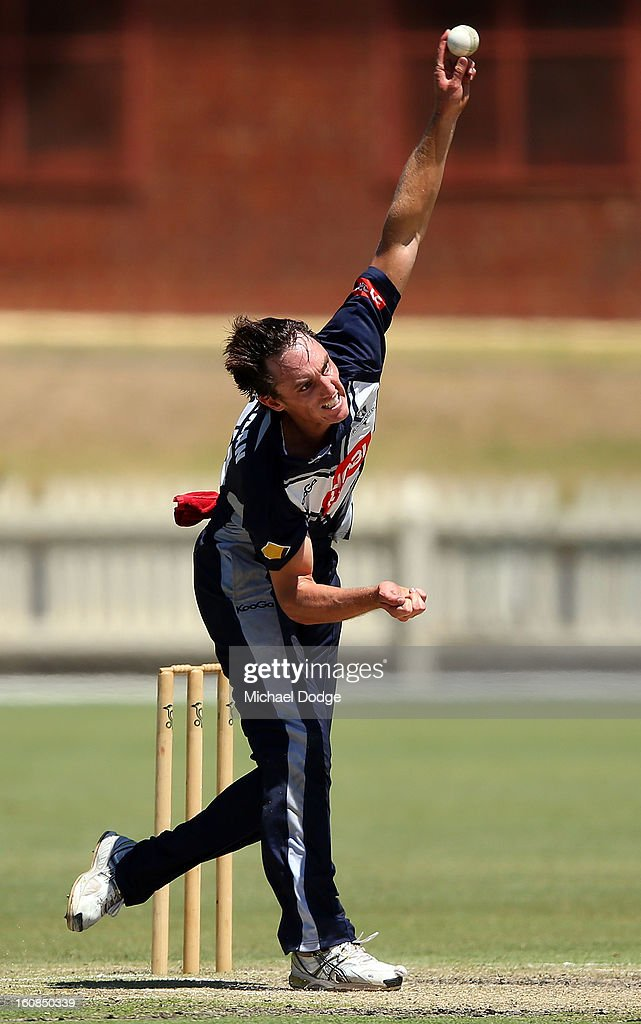 Will Sheridan of Victoria bowls during the International tour match between the Victorian 2nd XI and the England Lions at Junction Oval on February 7, 2013 in Melbourne, Australia.