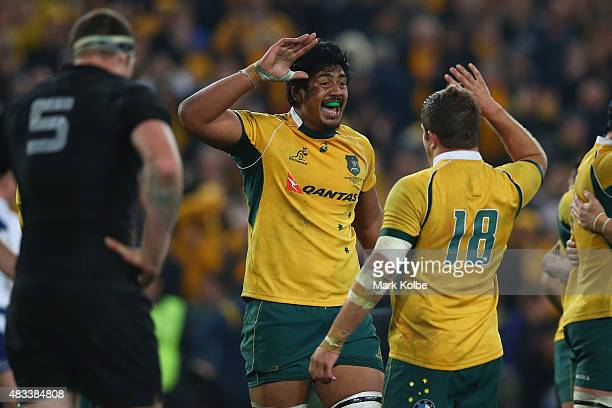 Will Skelton and Greg Holmesof the Wallabies celebrate victory during The Rugby Championship match between the Australia Wallabies and the New...