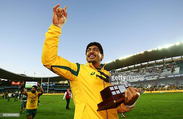 Will Skelton of the Wallabies celebrates after the International Test match between the Australia Wallabies and France at Allianz Stadium on June 21...