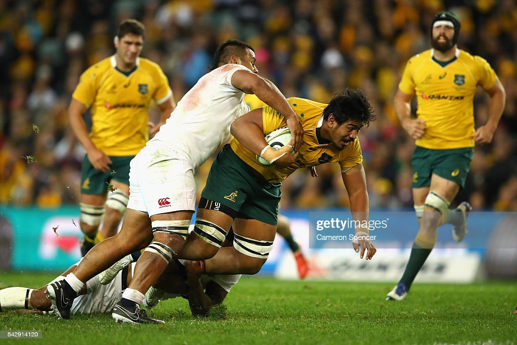 Will Skelton of the Wallabies is tackled during the International Test match between the Australian Wallabies and England at Allianz Stadium on June 25, 2016 in Sydney, Australia.