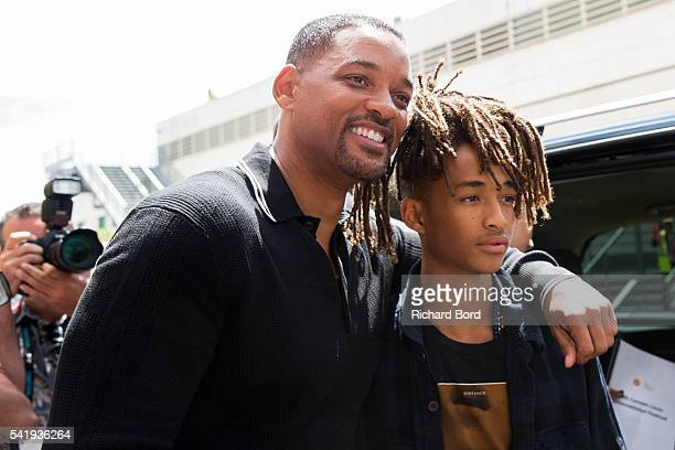 Will Smith and his son Jaden Smith pose outside the Palais after 'The Pursuit of Impact' seminar during the Cannes Lions Festival 2016 on June 21...