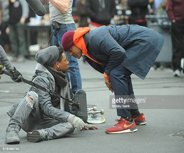 Will Smith and Jacob Latimore on the set of 'Collateral Beauty' on March 31 2016 in New York City