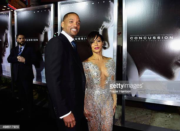 Will Smith and Jada Pinkett Smith attend Columbia Pictures screening of Concussion at Regency Village Theatre on November 23 2015 in Westwood...