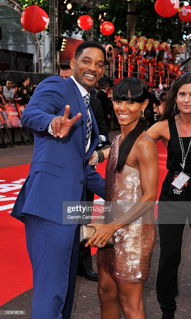 Will Smith (L) and Jada Pinkett Smith attend the UK Film Premiere of The Karate Kid at Odeon Leicester Square on July 15, 2010 in London, England.